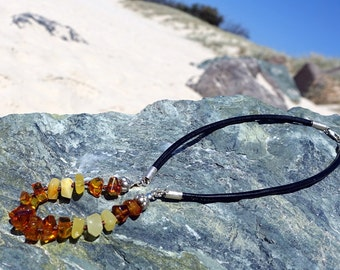 Baltic Amber Necklace, Amber Leather Necklace, Amber Beaded, Leather Necklace, Baltic Amber Jewelry