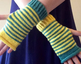 Yellow and green striped wrist warmers