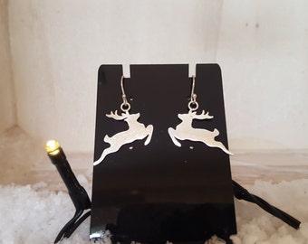 Reindeer earrings in Sterling silver on shepherd hooks