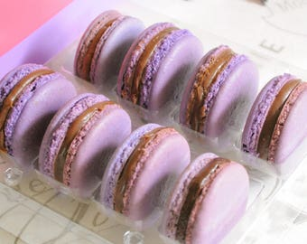 French Macaron Lavender and blueberries 8 gourmet cookies, party favors.  edible French macarons in a box, birthday gift, gluten free