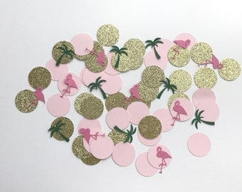 Flamingo and Palm Tree Confetti | Tropical Confetti | Birthday Confetti