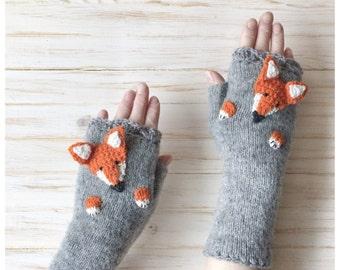 Knitted Gloves Fingerless Mittens Fox Gloves  Grey Fox  Gloves  Arm Warmers Mittens&Muffs Wool Gloves