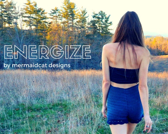 crochet high-waisted shorts pattern - Energize