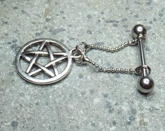 Pentagram Charm Nipple Bar Surgical Steel Bar 14 gauge Nipple Jewelry Nipple Piercing