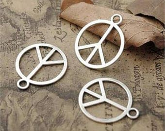 10/7pcs Silver  Charm Pendant Peace Sign Tarnish Resistant Jewelry Parts 10-Large and 6-Small Size.PS-1r