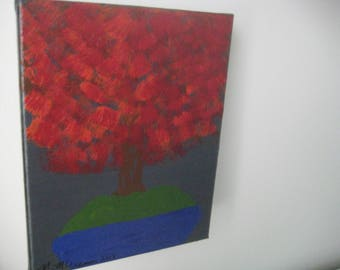 "Acrylic Painting- Original- 10"" x 8"" - Maple Bonsai"