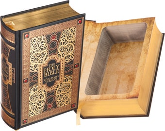 Large Hollow Book Safe - The Holy Bible - King James Version (Leather-bound) (Magnetic Closure)