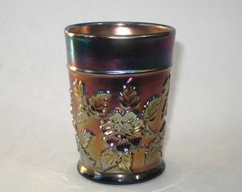 Dugan Carnival Glass Blue Rambler Rose Tumbler - Antique