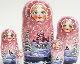 Nesting dolls Russian Winter Night - #93bb