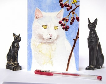 White Cat Card 5x7 Blank Fold - Over, Greetings Card, Note Card with Envelope