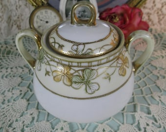 Covered Sugar Bowl, Morimura (Noritake) Nippon, Hand Painted Gold Moriage Style, Gold Gilt Beading, Green & Yellow Leaves