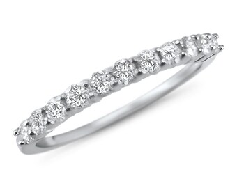 1/3 carat dainty diamond anniversary band  14k white gold stackable wedding ring -stackable band