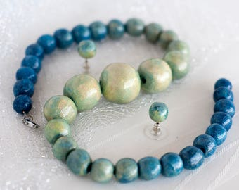 """One of a kind Milky Way Galaxy Clay Pearl Necklace and Earrings Set, """"Space Jewelry"""" Series"""