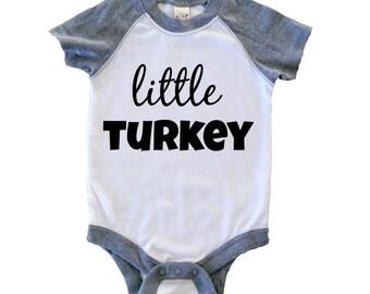 Little Turkey, Thanksgiving Baby Raglan Bodysuit