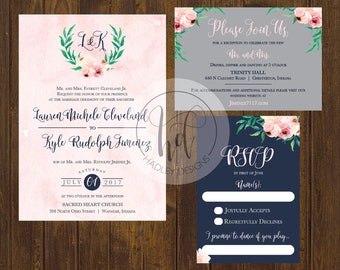 Floral Wedding Invitation, Elegant Wedding Invitation, Navy and Blush Wedding Invitation,  Classic Wedding Invite, Modern Wedding Invitation