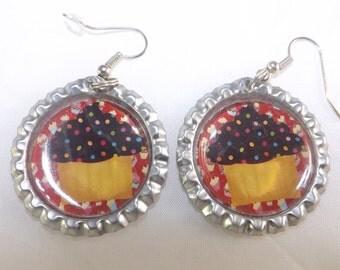 New Choclate Cupcake Flat Chrome Bottlecap Earrings