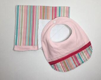 Bib and Burp Cloth Set- Pink Stripes