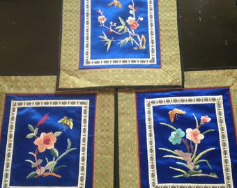 Asian Silk Placemats/Chinese embroidered Placemat Set of 3/Silk Embroidered Placemat/Asian Silk Placemat Butterfly Design