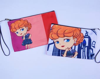 I Love Lucy Clutch Cosmetic Bag - Perfect Travel Bag Wristlet Gift For Her - Lucy Ricardo