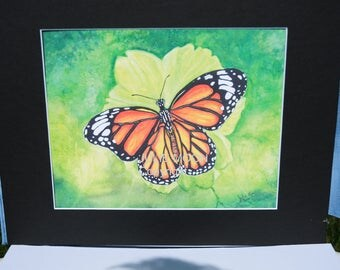 butterfly water color print 11x14 with matte(8x 10 print)