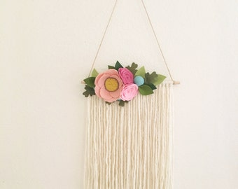 FLORAL WALL HANGING // Felt Flower Wall Hanging //  Boho Yarn Wall Hanging // Wall Art // Roses + Berries // Blush + Pink + Rose