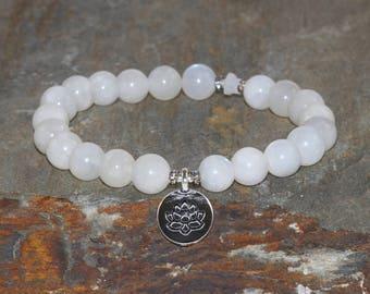 Moonstone Bracelet, Moonstone Jewelry, Yoga Mala Beads, Spiritual Healing Crystals, Awakening the Goddess-Feminine Energy-Emotional Balance