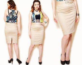 Striped Skirt Pencil Tan Vintage Beige Skirts Pinstripe High Waisted Karen Millen Slit 90s Cotton Skirts Short Beige Belted
