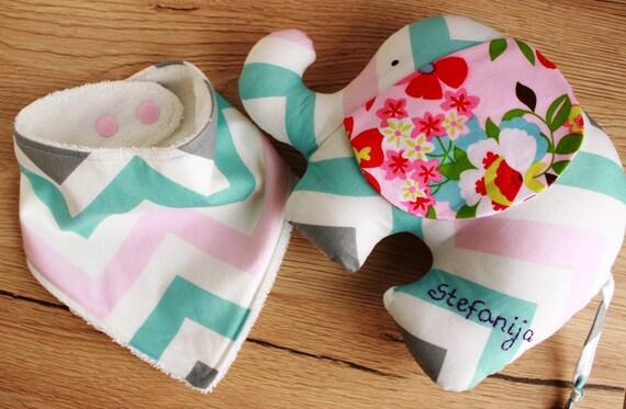 Personalized baby girl gift set elephant baby gift girl like this item negle Images