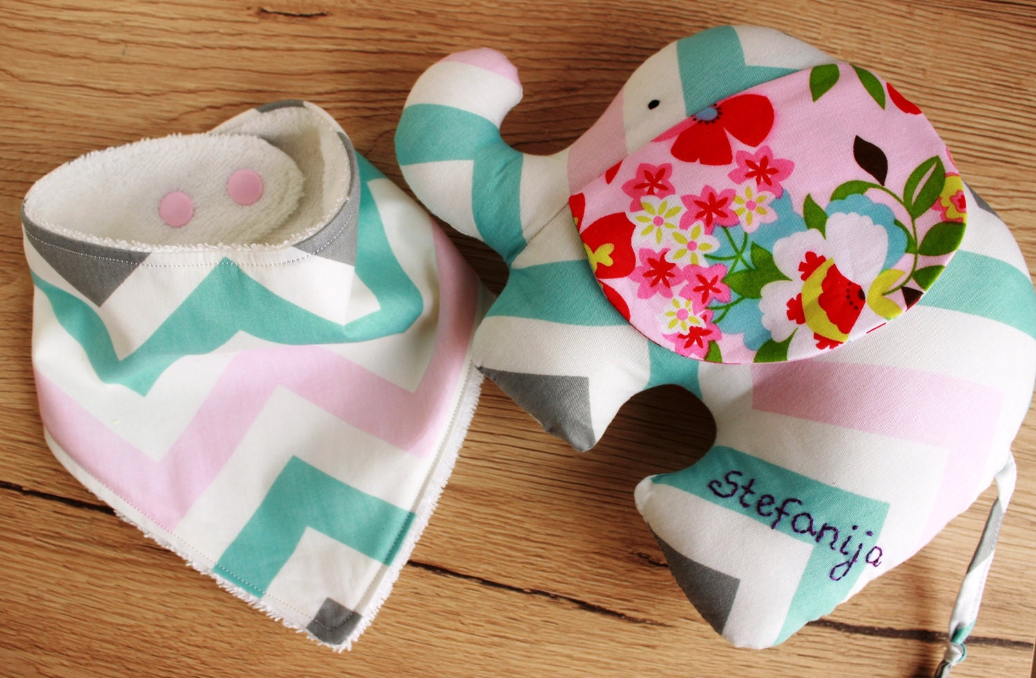 Personalised Baby Gift Sets : Personalized baby girl gift set elephant by foxinmygarden