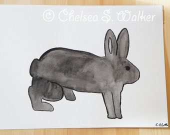 Rabbit artwork, black rabbit, original watercolor