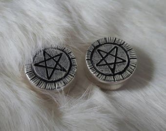 "Sterling Silver Pentagram Gauged Ear Weights 7/8"" 22mm"