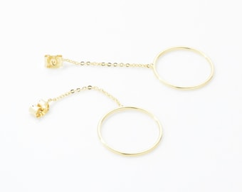 Circle Chain Butterfly Clutch . Ring Chain Earring Clutch . Ear Jacket . 16K Polished Gold Plated over Brass - 2pcs / ZE0009-PG