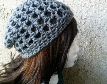 Open Stitch Chunky Beanie, Crochet Hat, Light Weight Toque, Spring Slouchy Beanie