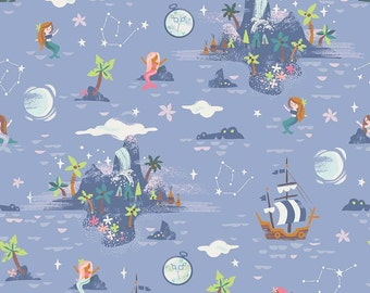 Neverland - Neverland Island Fabric - Periwinkle - Sold by the 1/2 Yard **PRE-SALE** Shipping September 2017