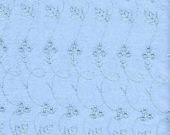 ON SALE!! Embroidered Eyelet Fabric - Blue - Priced by the 1/2 Yard