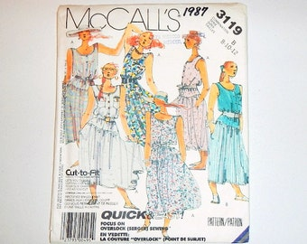 Vintage McCall's Sewing Pattern 3119 Dress Without Sleeves 1987