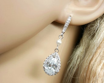 Nickel Free Crystal Teardrop Earrings, Swarovski Pearl Earrings, Cubic Zirconia Bridal Earrings, Wedding Jewelry Bridesmaid Gift