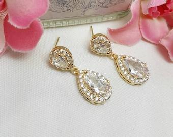 Dantiy Gold Teardrop Earrings, Pave Halo Style, Gold Crystal Wedding Earrings, Tear Drop Dangle, Pear Shaped Crystal, Bridemaids Gift