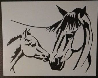 Mare Foal Mom and Baby Horse Pony Custom Stencil FAST FREE SHIPPING