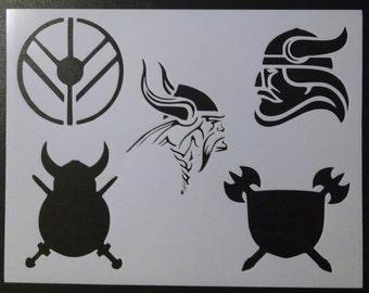 Vikings Viking Heads Shields Custom Stencil FAST FREE SHIPPING