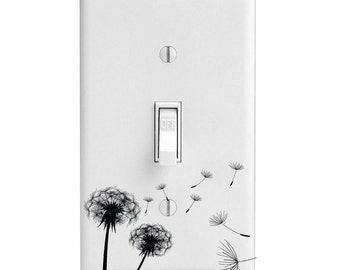 Home Decor Light Switch Cover-Dandelion Blowing in the wind-Housewarming-Lighting-Wall Decor-Kitchen Decor-Bathroom Decor