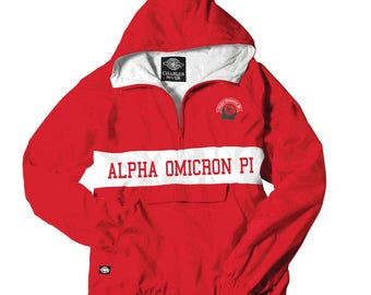 Alpha Omicron Pi Charles River Custom Stripe Greek Pullover Anorak (red print shown)