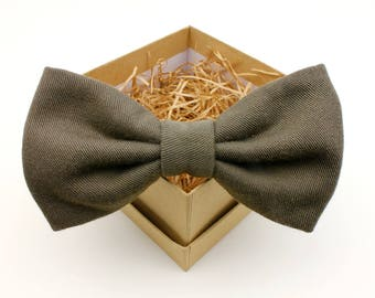 Olive Green Bow Tie - Mens Pre-Tied Bow Tie - Womens Bow Tie - Upcycled Bow Tie - Classic Solid Bow Tie - Army Green Bow Tie