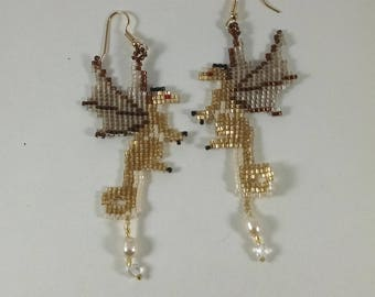 Beaded Dragon Earrings, Gold Fairy Dragon Earrings with Freshwater Pearl Treasure