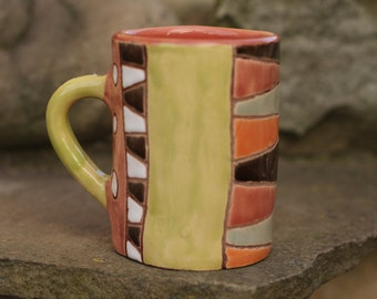 Geometric mug  Rustic mug Coffee mug Unique mug Birthday gift Valentine gift  Girlfriend gift Colorful mug Multicolor mug Green mug Unique