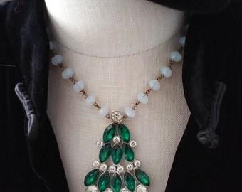 Vintage Rhinestone Emerald Pendant Necklace