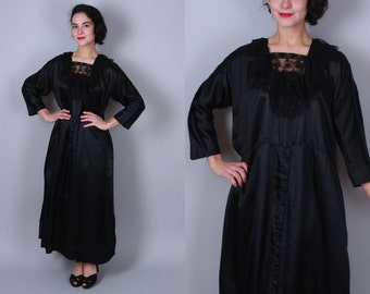 Vintage 1920s Dress | Black Silk Dress with Lace Collar | Large