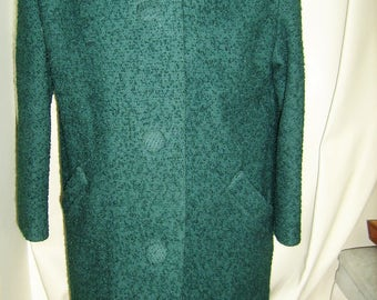 Vintage 50's Green Wool Coat with Fur Collar-