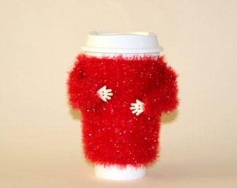 Valentines cup cozy. Gift for her. Travel mug sleeve. Funny mug cozy. Sparkle coffee warmer. Mug sweater. Coffee cozy. Red mug sweater