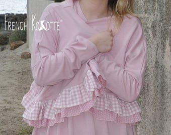 Cardigan in pastel cotton ruffled gingham and peas, french Kokotte.
